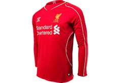 Warrior Liverpool Long Sleeve Home Jersey at SoccerPro. Arsenal Jersey, Liverpool Fc, Premier League, Soccer Jerseys, Munich, Long Sleeve, Mens Tops, Jackets, Stuff To Buy