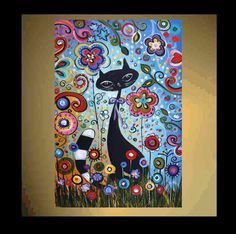 original painting abstract painting naive cat painting from listed artist jolina anthony express and free shipping