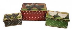 CHICKENS ON A TIN BOX W/ LID, SET OF 3