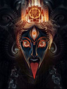 The essence of Hinduism is that the path may be different, but the goal is the same. Kali Mata, Indian Gods, Indian Art, Durga, Android Jones, Kali Goddess, Mystique, Hindu Art, Art Graphique
