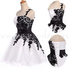 Buy Simple-dress Hot-selling A-line Black Lace Short/Mini White Homecoming Dresses/Party Dresses TUHD-7654 2015 Homecoming Dresses under $134.99 only in SimpleDress.