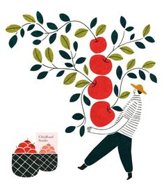 love this illustration by Chiu Road Studio Apple Illustration, Vegetable Illustration, Digital Illustration, Graphic Illustration, Food Graphic Design, Design Art, Gig Poster, Folded Book Art, Collages