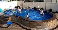 We sell high quality semi-inground pools in Suffolk and Nassau counties (Long Island) which are designed to go semi inground and have a lifetime warranty in the ground. Above Ground Pool Landscaping, Backyard Pool Landscaping, Backyard Pool Designs, Above Ground Swimming Pools, Small Backyard Pools, Small Pools, Swimming Pools Backyard, Pool Spa, Pool Decks