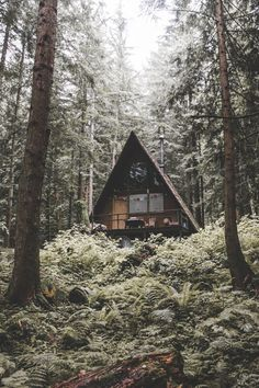 a-frame cabin in the woods - looks like I have a serious crush on wood cabins