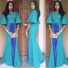 Top Ten Creative Lace And Ankara Aso Ebi Styles 2017 - Dabonke : Nigeria Latest Gist and Fashion 2019 Latest Ankara Gown, Ankara Gowns, Ankara Dress, African Print Dresses, African Fashion Dresses, African Dress, African Prints, Ghanaian Fashion, African Fabric