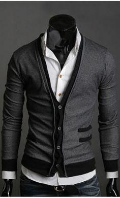Contrast Mens Slim Fit Modern Cardigan
