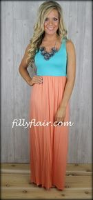 Aqua and apricot tank style maxi dress