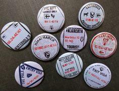 "Skyrim passport stamp buttons 1.25"" / 32mm pinback badges featuring Winterhold, The Rift, Whiterun and more"