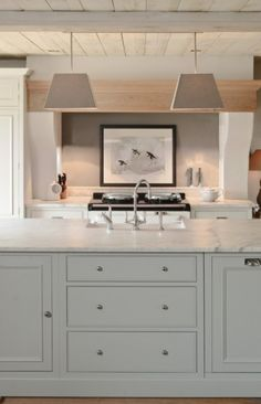 Contemporary - straight lines +soft colors +light wood + Shaker style cabinets+ marble countertops Neptune Kitchen ? Classic Kitchen, New Kitchen, Taupe Kitchen, Korean Kitchen, Kitchen Unit, Pastel Kitchen, Kitchen Living, Living Room, Kitchen Interior
