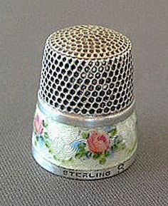 JP: SIMONS ANTIQUE ENAMEL STERLING SILVER THIMBLE with ROSES