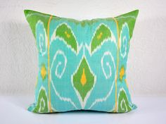 20x20 bright blue and olive green decorative throw pillow mpi401