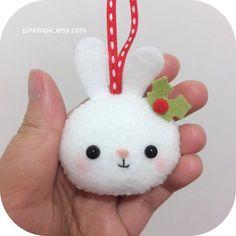 Christmas Bunny -  Winter Bunny - Felt Christmas Ornament