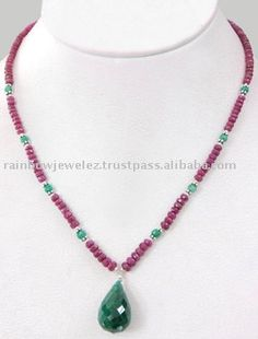 Source Stunning Designer Ruby Single Strand With Emerald Drop on m.alibaba.com