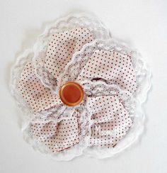 Large Fabric Hair Clip Peach White Polka Dot Button Lace Trim Photo Prop Girls Barrett #HairClip