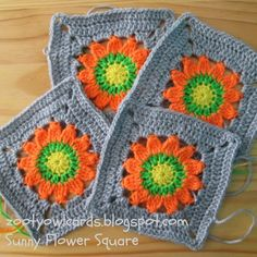 Happy Days CAL 2 Sunny Flower Square - Free crochet pattern by Zelna Olivier square Crochet Squares Afghan, Crochet Square Patterns, Crochet Blocks, Crochet Granny, Crochet Motif, Crochet Mandala, Granny Squares, Love Crochet, Diy Crochet