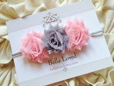 Baby Headband - Newborn Headband - MINI Pink and Gray Baby Headbands - Baby Girl Headband - Shabby Chic Hair Bow