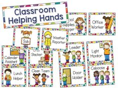 Classroom Helpers Job Chart - This is a classroom jobs set with a colorful polka dot background! Includes 20 job cards, job chart title card, and blank (editable) name tags. Preschool Classroom Jobs, Classroom Helpers, Teacher Helper, Classroom Themes, Classroom Community, Classroom Organization, Kindergarten Job Chart, Preschool Job Chart, Haus