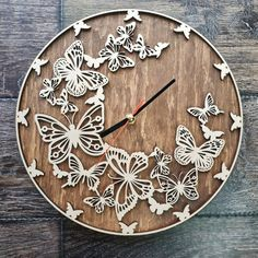 Butterfly Butterflies Art Wall Clock Ornament Decor Butterflies Gift For Her Him Kids Butterfly Home Decor Handmade Butterfly Wall Clock : Butterfly Gifts, Butterfly Art, Diy Papillon, Handmade Wall Clocks, Diy Wall Clocks, Wall Watch, How To Make Wall Clock, Diy Clock, Clock Decor