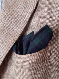 Handmade Pocket Square Handkerchief 100% Wool Tartan Scottish Black Watch…