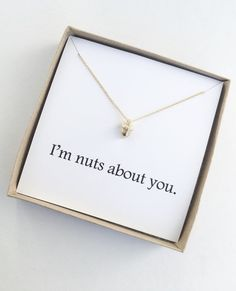 Anniversary Gift Ideas For Him Discover Gold Im Nuts About You Acorn Necklace One Month Anniversary, Anniversary Boyfriend, Wedding Anniversary Gifts, Anniversary Ideas, Happy Anniversary, Anniversary Cards, Love Gifts, Gifts For Wife, Diy Gifts