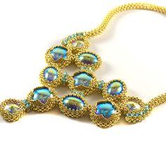 Moonstruck Necklace Gold & Lt Sapphire Beading Kit - Liisa Turunen Designs
