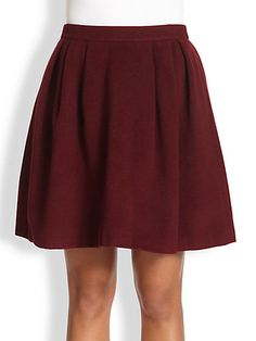 Wool full burgundy skirt with pockets. Perfect for fall!