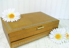 Vintage Gold Hard Shell Jewelry Box with Silver Trim - Gold Velveteen Interior with 2 Tiers