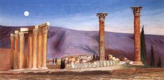 Ruins Of The Jupiter Temple In Athens 1904 Metal Print by Csontvary Tivadar Kosztka Ruined City, Post Impressionism, Art Database, Abandoned Houses, Pilgrimage, Athens, Great Artists, Art Gallery, Art Prints