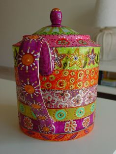 ♥•✿•♥•✿ڿڰۣ•♥•✿•♥ ♥   Hand painted tea pot by Nini Violette  ♥•✿•♥•✿ڿڰۣ•♥•✿•♥ ♥