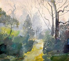 "urgetocreate: ""Ruth Stage, Early Mist, Regents Park, egg tempera on board """