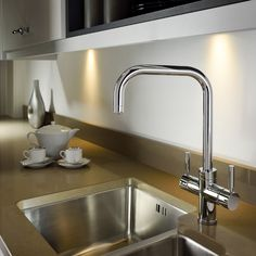 The Pronteau range of steaming hot water kitchen taps are created to sit perfectly within your home complementing the surrounding area they live in Kitchen Mixer, Kitchen Taps, Sink Taps, Sinks, Water Tap, Mixer Taps, Water Filter, Chrome, Yard