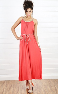 Metallic Braided Maxi Dress CORAL