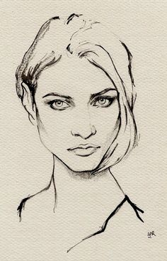 ink painting–Anna Selezneva by ler huang, via Behance