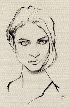 ink painting–Anna Selezneva by ler huang, via Behance