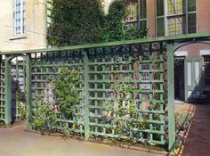 Green wood square lattice fence with climbing vines Small Fence, Horizontal Fence, Front Yard Fence, Fence Landscaping, Backyard Fences, Garden Fencing, Pool Fence, Concrete Fence, Bamboo Fence