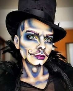 Painted my face yesterday at the buttcrack of dawn for 3 hours yesterday for a 20 minute long skype chat. Lets hope it was worth it! 😉 Some inspired inner eyes. Drag King Makeup, Queen Makeup, Scary Clown Makeup, Halloween Makeup Looks, Contour Makeup, Makeup Eyes, Contouring, Character Makeup, Pinterest Makeup
