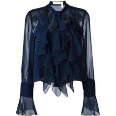 See By Chloé ruffled bell sleeve blouse ($290) ❤ liked on Polyvore featuring tops, blouses, blue, frill collar blouse, see through blouse, bell sleeve tops, scalloped blouse and sheer blouse