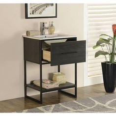 Legion Furniture 24-inch Espresso Finish Single Sink Vanity with Black Metal Frame