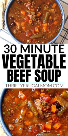 Vegetable Beef Soup- this easy stovetop recipe combines lots of vegetables, ground beef, black beans and various herbs to create a simple homemade soup that is healthy and delicious! Perfect for weeknight family dinners. #thriftyfrugalmom #vegetablebeefsoup #easysoup Easy Homemade Recipes, Homemade Soup, Healthy Soup Recipes, Chili Recipes, Meat Recipes, Delicious Recipes, Weeknight Recipes, Budget Recipes, Easy Dinner Recipes