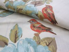 """ENVOGUE Floral Bird Window Curtain Panels Set of 2 Drapes Pair 96"""" Teal Gold NEW #Envogue #FrenchCountry"""