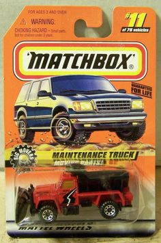 ctd-Matchbox 1998 #011 Highway Plow Maintainence Truck-red/blk