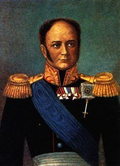 Portrait du tsar Alexandre I, portant le ruban de l'ordre de Saint-André en écharpe. La plaque portée semble être celle de Saint-André combinée avec l'ordre britanique de la Jarrtière, dont il est récipiendaire depuis 1813. Cf. illustration plaque.
