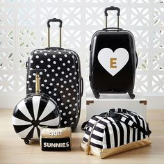 The Emily & Meritt Hard-Sided Pinwheel Stripe Round Carry-On Teen Luggage, Cute Luggage, Carry On Luggage, Luggage Sets, Travel Luggage, Travel Bags, Luxury Luggage, Luggage Cover, Hard Sided Luggage