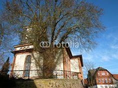 Alter Baum vor der evangelischen Kirche in Wißmar bei Gießen an der Lahn in Mittelhessen