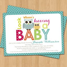 Owls Baby Shower Invitation Digital Printable, front and back, ANY color ANY wording on Etsy, $15.72 CAD