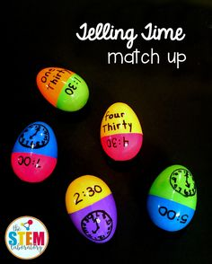 Share on Pinterest Share Share on Facebook Share Send email Mail Teaching children to tell time can take a LOT of practice!  This matching activity makes all of that hard work fun for kids — and it's a wonderful way to recycle your plastic Easter eggs too. Telling Time Match Up is great to use as a math center, small group activity or homeschool practice. Getting Ready