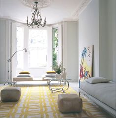 yellow and white rug...yes, please