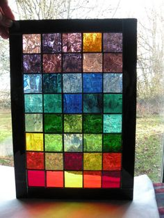 Colorful Stained Glass Panel with rainbow of colors black boarder rectangular panel rainbow glass Stained Glass Quilt, Faux Stained Glass, Stained Glass Designs, Stained Glass Panels, Stained Glass Projects, Stained Glass Patterns, Mosaic Art, Mosaic Glass, Gravure Illustration