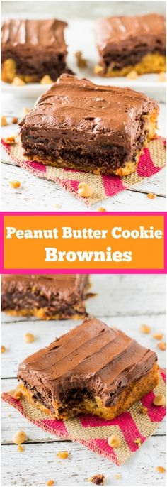 Peanut Butter Cookie Brownies Recipe- peanut butter cookie crust topped with fudgy brownies and frosted with whipped chocolate frosting!