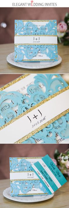 blue turquoise laser cut wedding invitation with glittery band